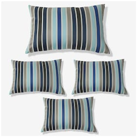 SEEVO Striped Polyester Rectangle Shape Blue Cushion Cover ( Regular , Pack of 4 )