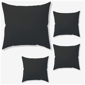 SEEVO Plain Leather Square Shape Black Cushion Cover ( Regular , Pack of 4 )