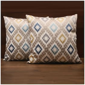 Seevo 16 X 16Inch Embroidered Blue Square Polyester Cushion Cover (Pack Of 2)