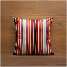 Seevo 16 X 16Inch Striped Maroon Square Polyester Cushion Cover (Pack Of 1)