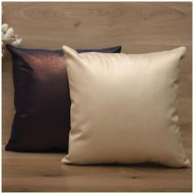 SEEVO Plain Polyester Square Shape Cream & Blue Cushion Cover ( Regular , Pack of 2 )
