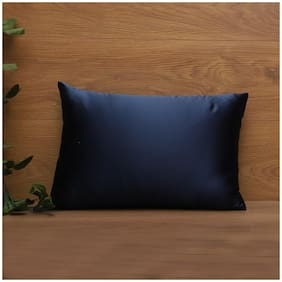 SEEVO Solid Satin Rectangle Shape Blue Cushion Cover ( Regular , Pack of 1 )