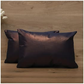 SEEVO Solid Polyester Rectangle Shape Blue Cushion Cover ( Regular , Pack of 2 )