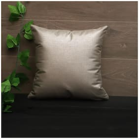 SEEVO Solid Polyester Square Shape Silver Cushion Cover ( Regular , Pack of 1 )