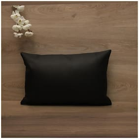 SEEVO Solid Leather Rectangle Shape Black Cushion Cover ( Regular , Pack of 1 )