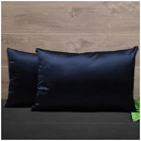SEEVO Satin Plain Pillow Covers ( Pack of 2 , Blue )