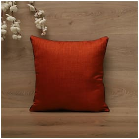 SEEVO Solid Polyester Square Shape Orange Cushion Cover ( Regular , Pack of 1 )