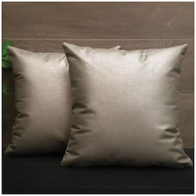 SEEVO Solid Polyester Square Shape Silver Cushion Cover ( Regular , Pack of 2 )