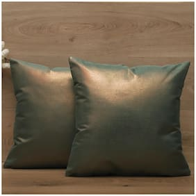 SEEVO Solid Polyester Square Shape Green Cushion Cover ( Regular , Pack of 2 )