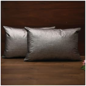 SEEVO Solid Polyester Rectangle Shape Grey Cushion Cover ( Regular , Pack of 2 )