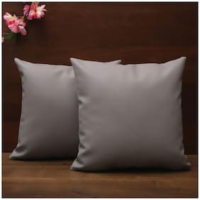 SEEVO Solid Leather Square Shape Grey Cushion Cover ( Regular , Pack of 2 )