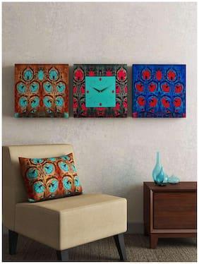 SEJ by Nisha Gupta Mdf with melamine Analog Wall clock ( Set of 3 )