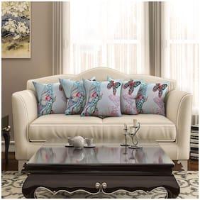 SEJ by Nisha Gupta Printed Cotton Blue Cushion Cover ( Regular , Pack of 5 )