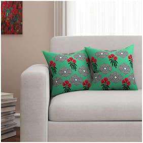 SEJ by Nisha Gupta Floral Cotton Green Cushion Cover ( Regular , Pack of 2 )