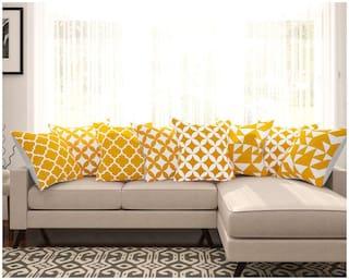 SEJ Cotton Geometric HD Digital Premium cushion covers (Set of 8)