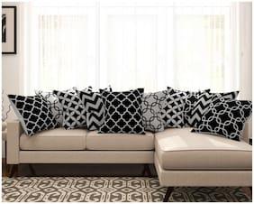SEJ Cotton Geometric HD Digital Premium cushion covers (Set of 10)