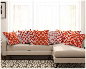 SEJ Cotton Geometric HD Digital Premium cushion covers (Set of 10)