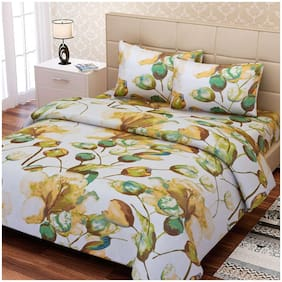 SEJ by Nisha Gupta Cotton Floral Double Size Bedsheet 160 TC ( 1 Bedsheet With 2 Pillow Covers , Brown )
