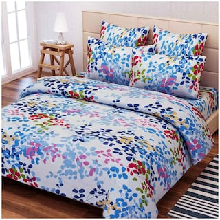 SEJ by Nisha Gupta Cotton Floral Double Size Bedsheet 160 TC ( 1 Bedsheet With 2 Pillow Covers , Blue )