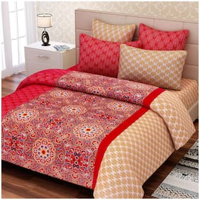 SEJ by Nisha Gupta Cotton Floral King Size Bedsheet 180 TC ( 1 Bedsheet With 2 Pillow Covers , Red )