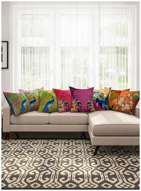 SEJ Multicoloured Abstract Cushion Cover (Set of 8)