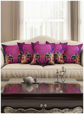 SEJ Purple Ethnic Cushion Cover (Set of 5)