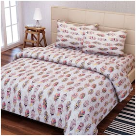 SEJ by Nisha Gupta Cotton Floral Double Size Bedsheet 160 TC ( 1 Bedsheet With 2 Pillow Covers , Pink )