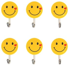 BG Bazzar Gali Self Adhesive Smiley Hooks, Load Capacity 2 kg, (Set of 6 pcs.)