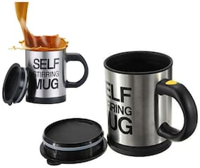 Self Stirring Mugs Electric Automatic Mixing Cups for Stir Coffee Milk Mix Mug (Black Color) Pack of 1
