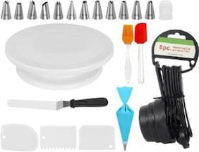 Sell Net Retail 1 Cake Turn Table Silicon 1 Brush And 1 Spatula 12 cake Nozzle 8 measuring Cup And Spoon 3 cake Scrapper 1 Cake Knife