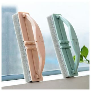 Sell Net Retail Foldable Glass Cleaning Brush Window Sponge Cleanbrush With Handle- Pack of 2