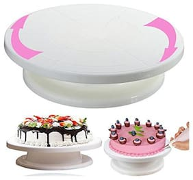 Sell Net Retail Cake Turntable Revolving Cake Decorating Stand | 360° Rotating;28 cm;Plastic;White