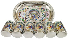 Sell On Craft Designer Peacock Tray With  6-Glass Set Stainless Steel Silver Minakari