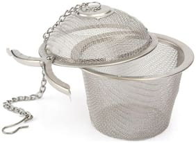 SellnShip Stainless Steel Tea Filter Infuser 4.5cm Basket Shaped Tea Infuser for Green Tea Loose Tea Leaf and Tea Bags with a Chain and a Hook