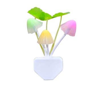 Automatic Sensor Mushroom Night Lamp - Multi Color Changing Effect -Work in Dark Place Due to Night Sensor (1Pc) White