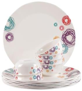 Servewell Melamine Dinner Sets - Set of 12 , White