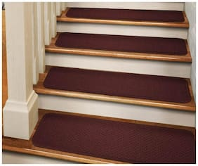 "Set of 15 ADHESIVE Carpet Stair Treads 8""x30"" BURGUNDY RED runner rugs"