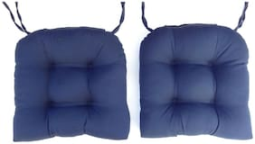 "Set of 2 ~ 16"" Solid Twill U-Shaped Tufted Chair Cushions Pads Navy"