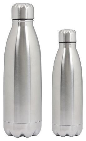 Dynore Stainless Steel Silver Water Bottle   1000 ml   500 ml , Set of 2