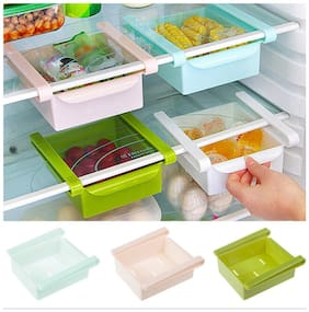 Set Of 2 Multifuction Plastic Kitchen Refrigerator Storage Rack Fridge Shelf