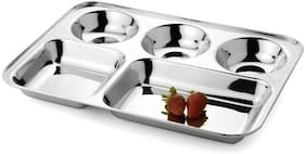 Set of 2 Premium Stainless Steel Lunch Dinner Plate Bhojan Thali 5 in 1 Rectangle Compartments