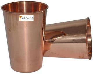Prisha India Craft Copper Cup Water Tumbler Handmade Water Glasses  Set of 2