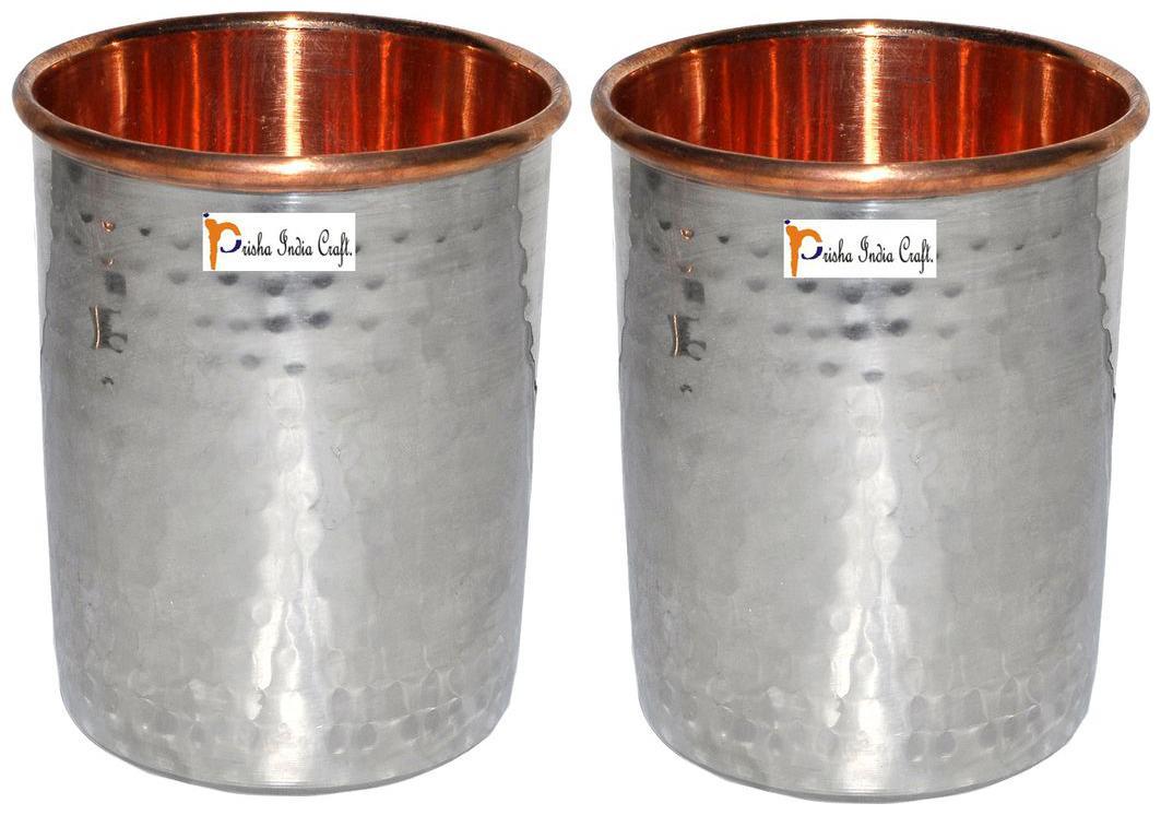 Set of 2   Prisha India Craft   Handmade Water Glass Copper Tumbler