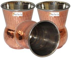 Prisha India Craft Copper Muglai Matka Glass Hammered Style Drinkware Tumbler  Set of 3
