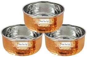 Set of 3 - Prisha India Craft  Steel Copper Serving Bowl   Hammered Dinner Bowl  - Dia 3.5