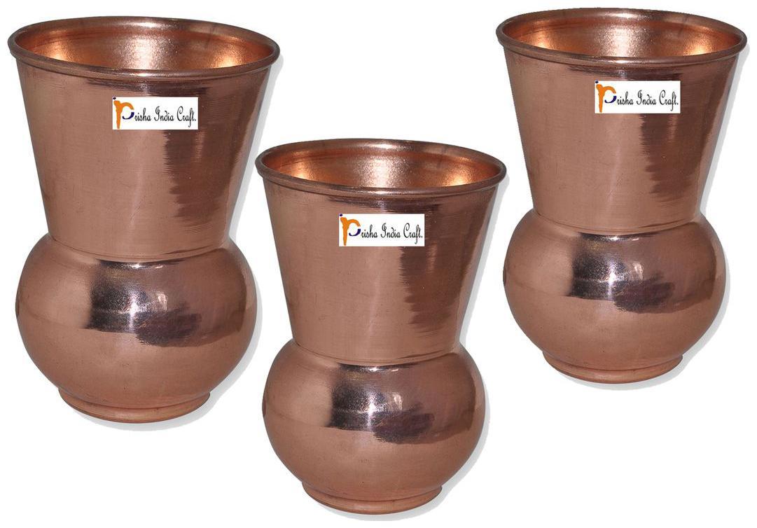 Prisha India Craft Copper Muglai Matka Glass Drinkware Tumbler Handmade Copper Cup  Set of 3