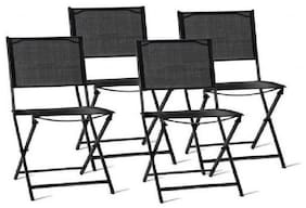 Set of 4 Black Folding Sling Back Chairs Outdoor Patio Garden Camp Deck Seating