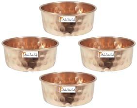 Set of 4 - Prisha India Craft  Pure Copper Serving Bowl   Hammered Dinner Bowl Serving Katoris - Dia 3.5