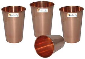 Set of 4 - Prisha India Craft Handmade Water Glass Copper Tumbler