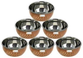 Prisha India Craft Handmade Steel Copper Serving Bowl   Hammered Chutni Bowl  Set of  6